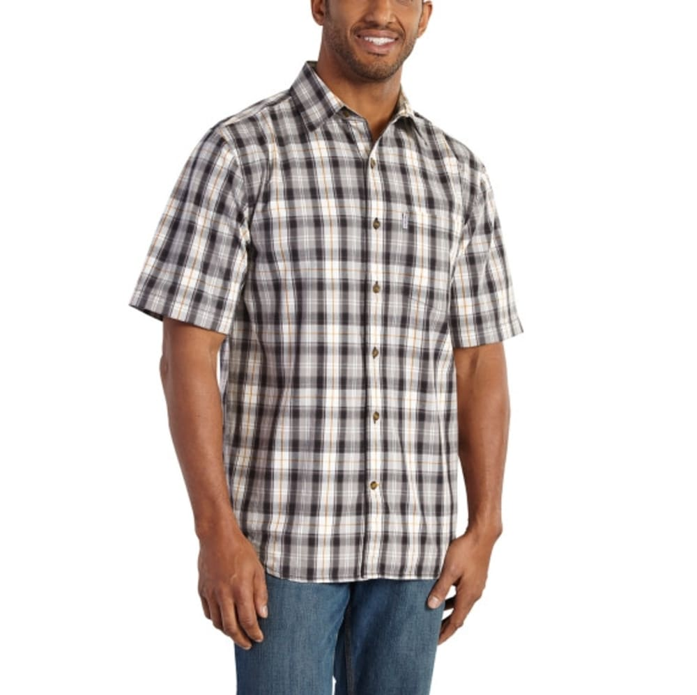 Carhartt Men's Essential Plaid Open Collar Short-Sleeve Shirt - Black, M