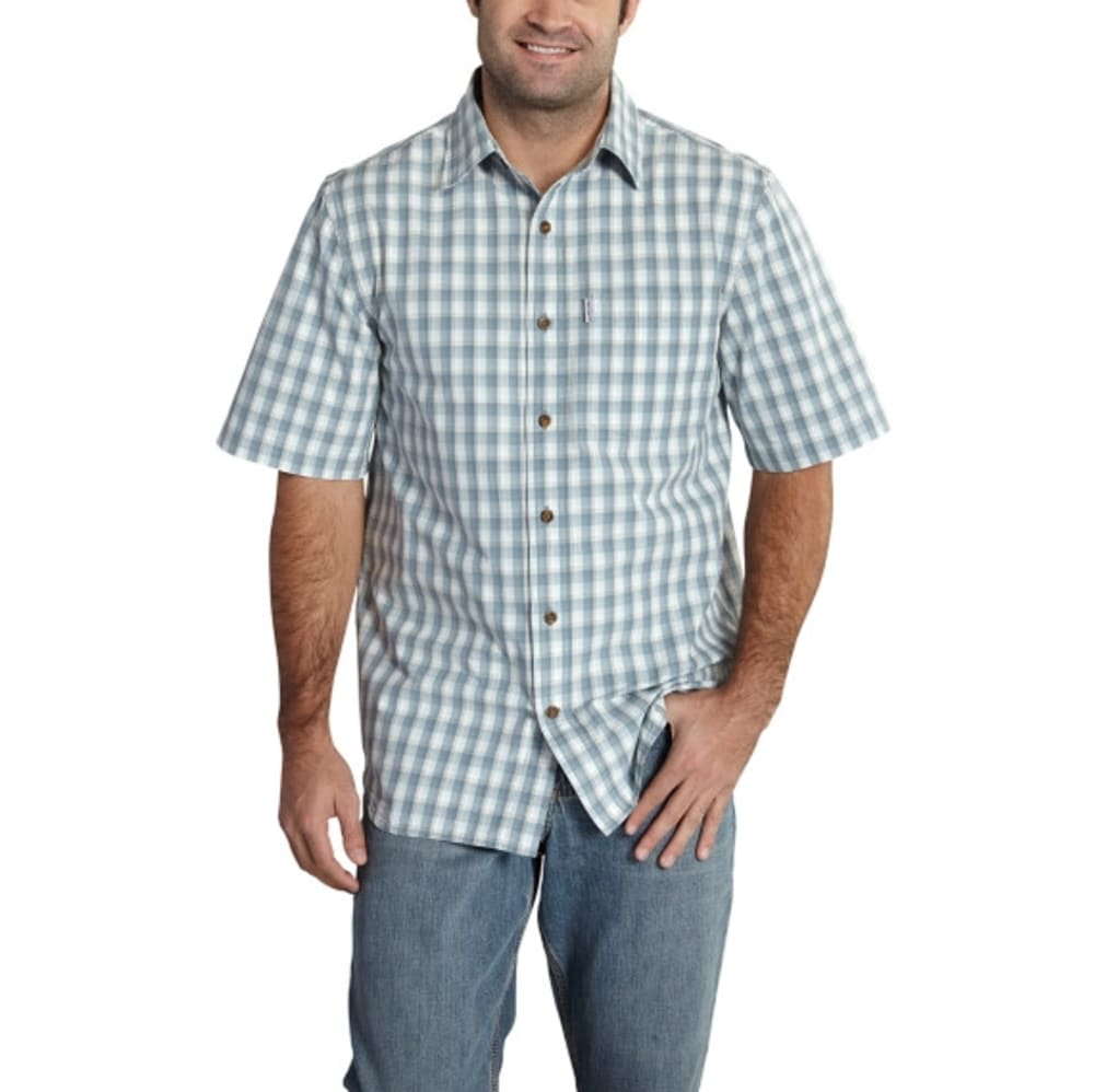 CARHARTT Men's Essential Plaid Open Collar Short-Sleeve Shirt - 437 STLBLUE