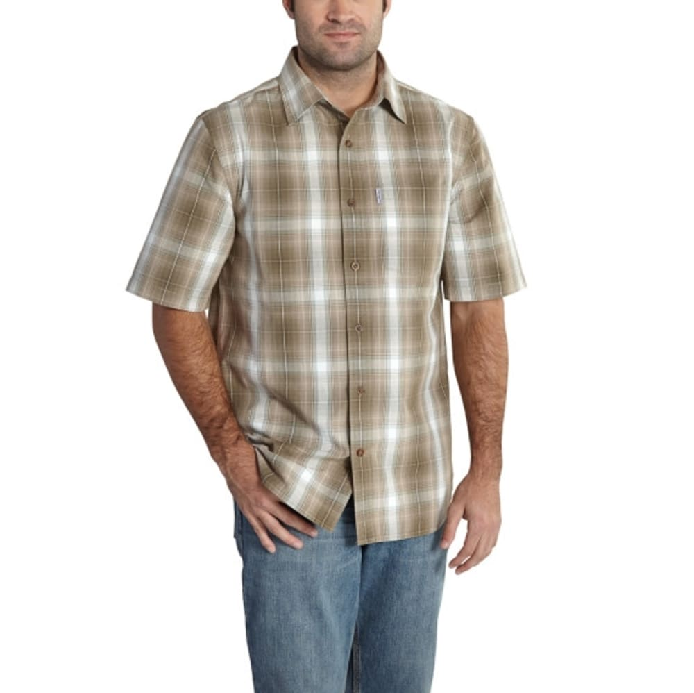 CARHARTT Men's Essential Plaid Open Collar Short-Sleeve Shirt - 391 BT OLV