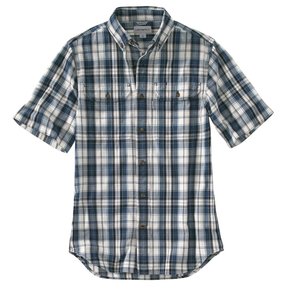 CARHARTT Men's Fort Plaid Short-Sleeve Shirt - 412 NAVY
