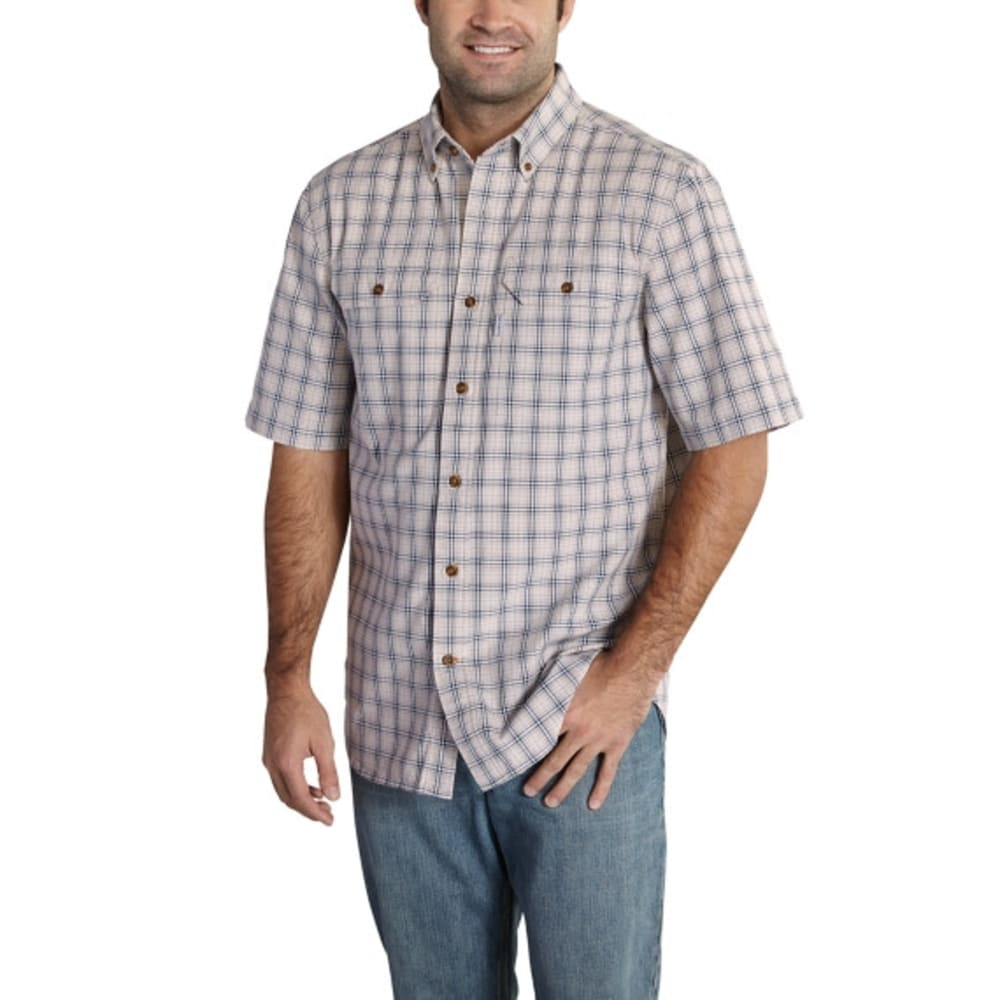 CARHARTT Men's Fort Plaid Short-Sleeve Shirt - 056 VAP GRY