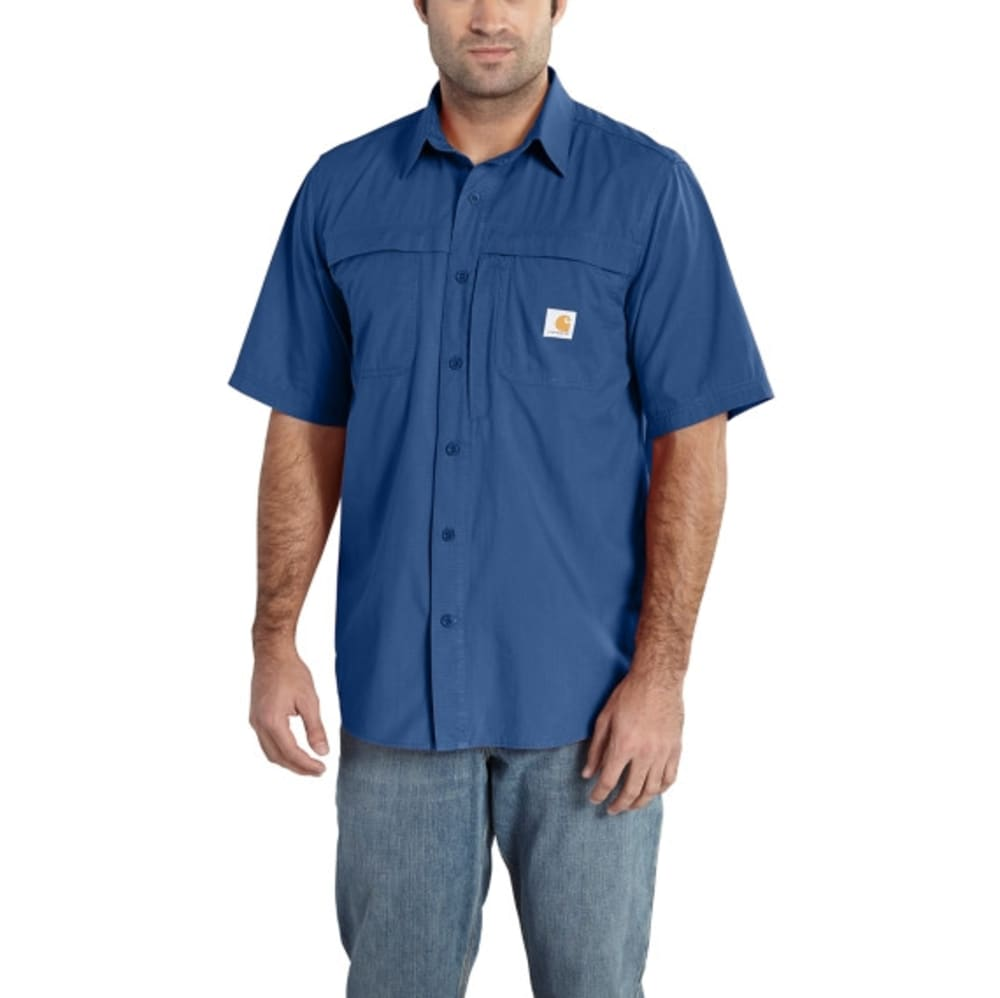 CARHARTT Men's Force Mandan Solid Short-Sleeve Shirt - 496 SEA BLU