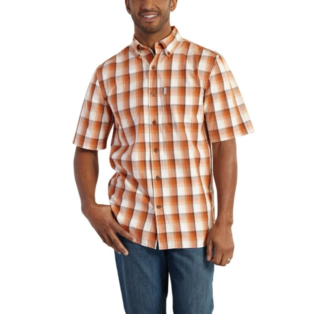 CARHARTT Men's Essential Plaid Button-Down Short-Sleeve Shirt - 253 RUST