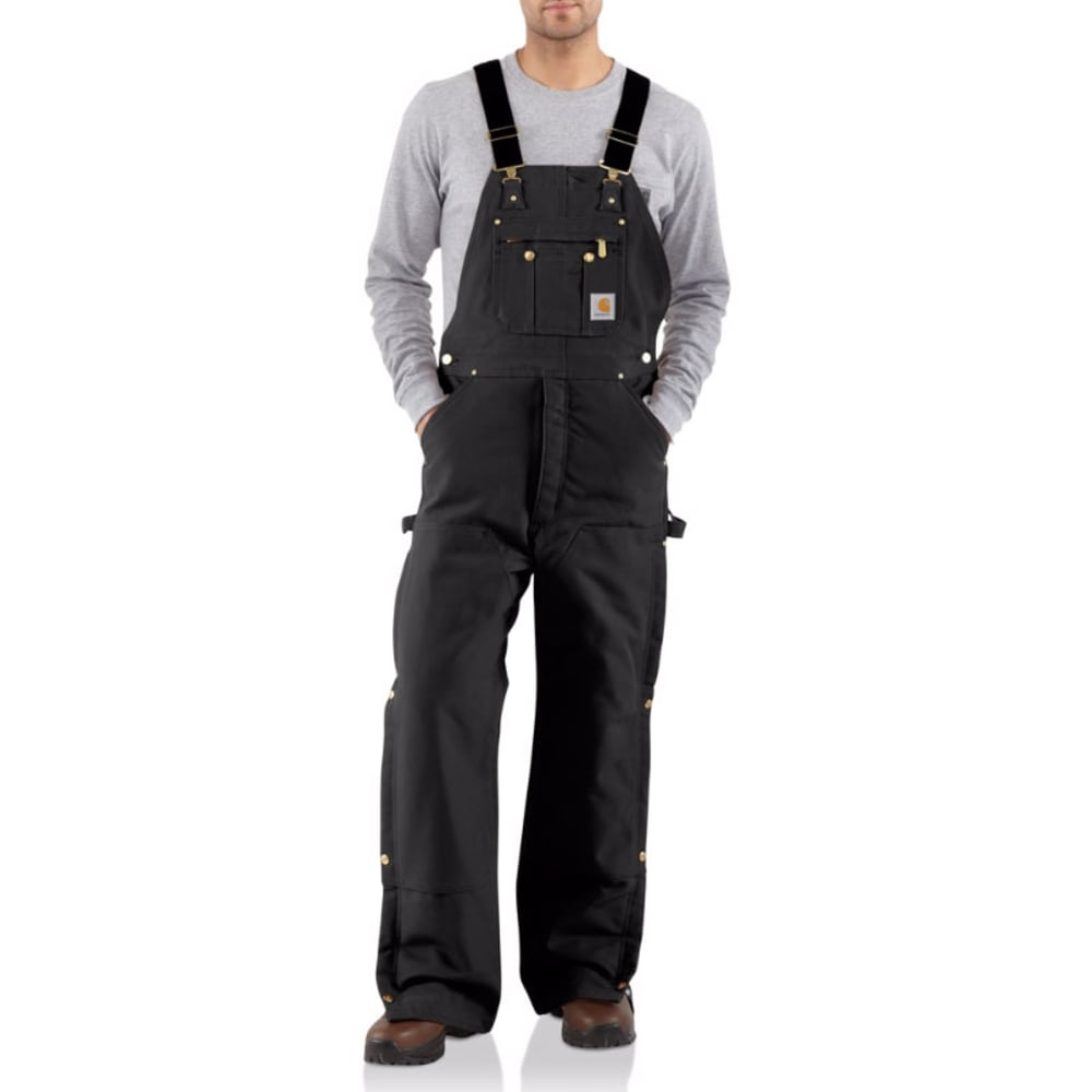 CARHARTT Men's R02 Quilt-Lined Duck Bib Overalls - BLACK
