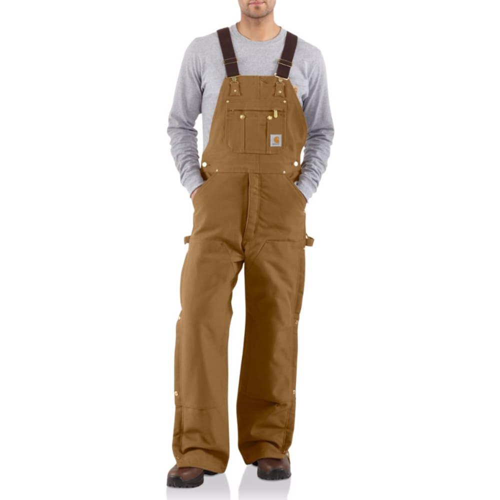 CARHARTT Men's R02 Quilt-Lined Duck Bib Overalls - BROWN