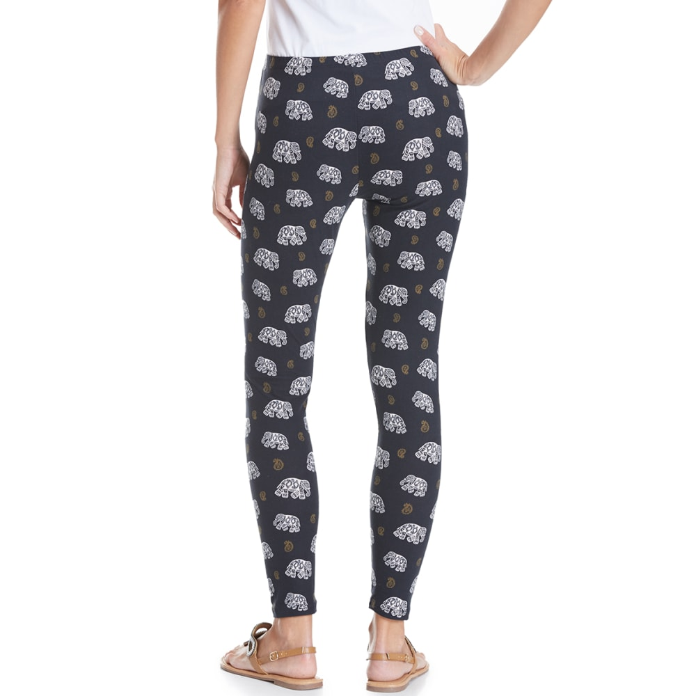 PINK ROSE Juniors' Peached Printed Leggings - BLACK ELEPHANT