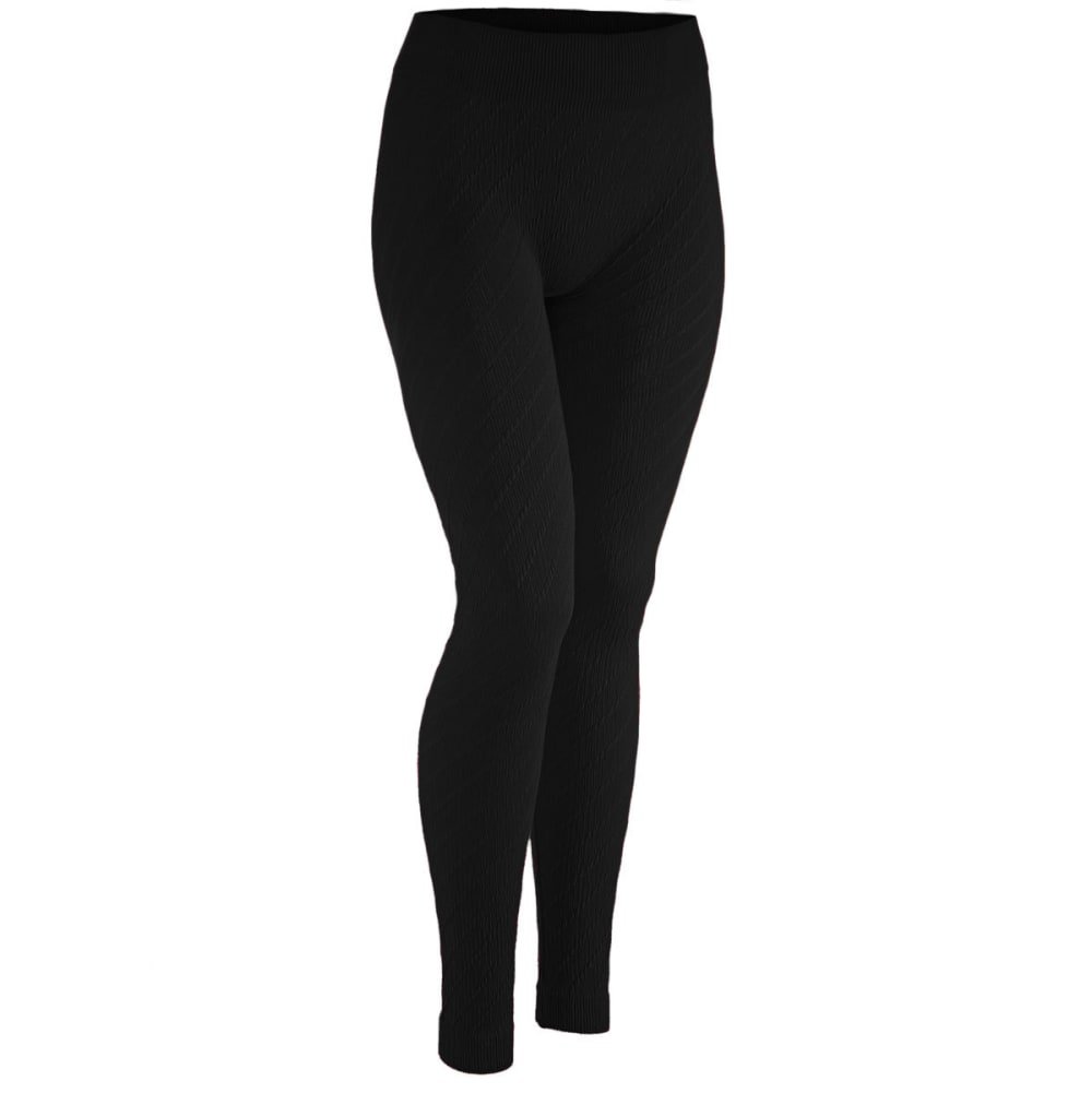 AMBIANCE Juniors' Diamond Jacquard Leggings - BLACK