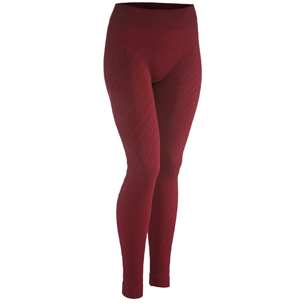 AMBIANCE Juniors' Diamond Jacquard Leggings - BURGUNDY