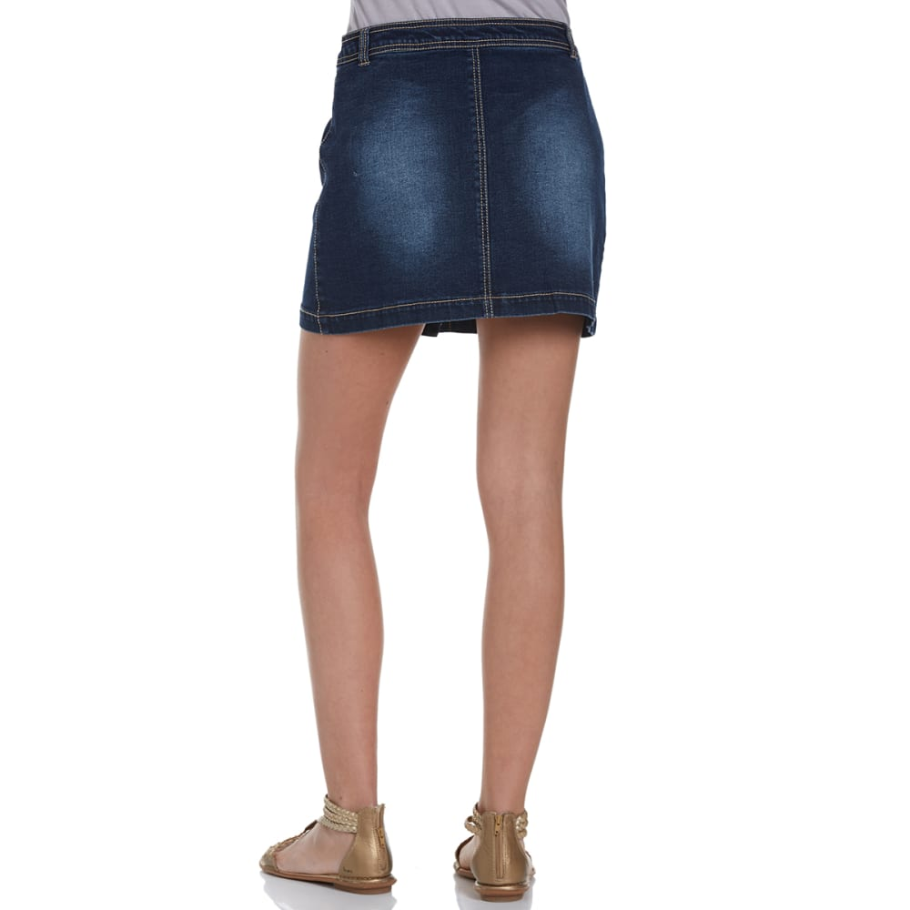 FREESTYLE Juniors' Button Down Denim Skirt - DARK WASH