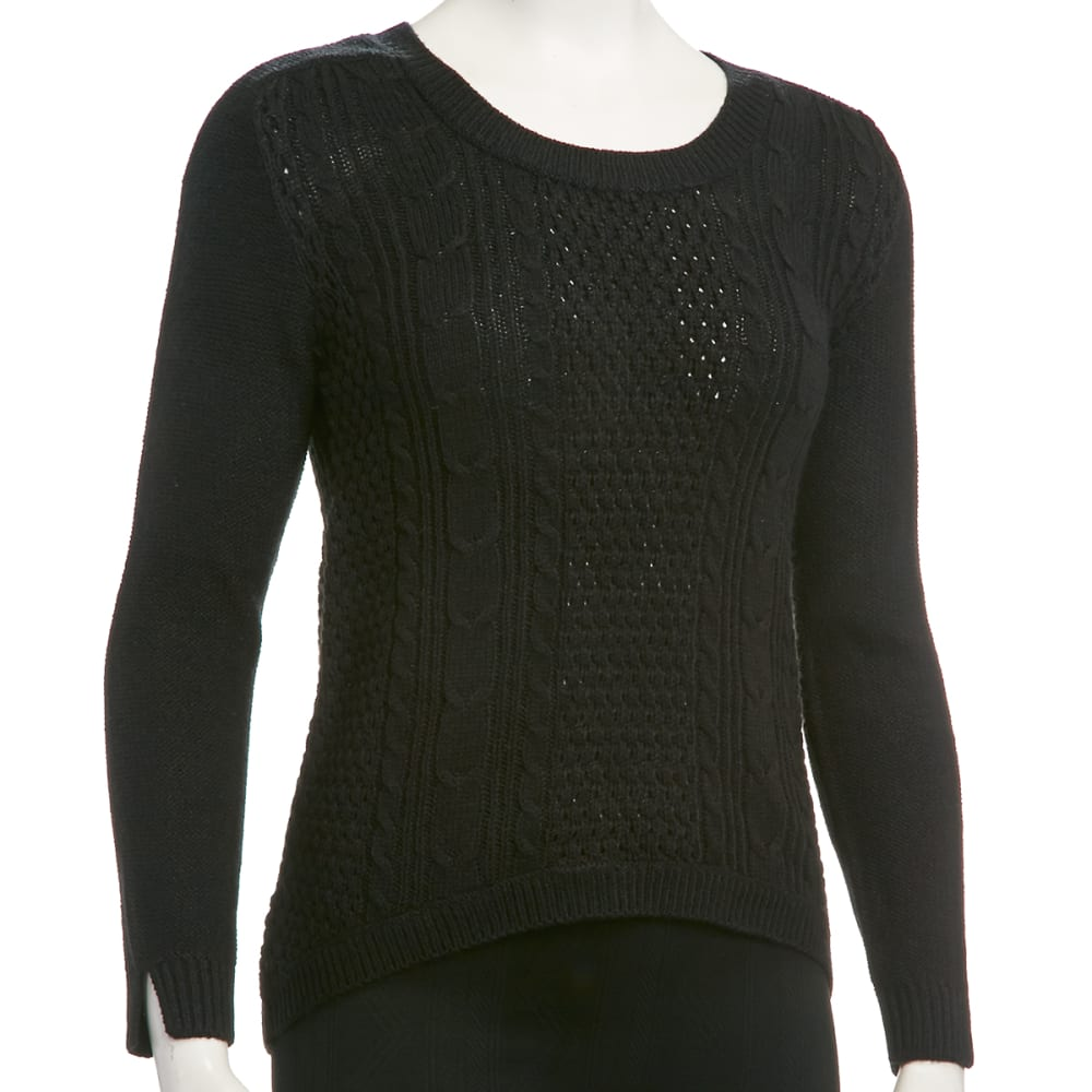 AMBIANCE Juniors' Cable High Lo Sweater - BLACK