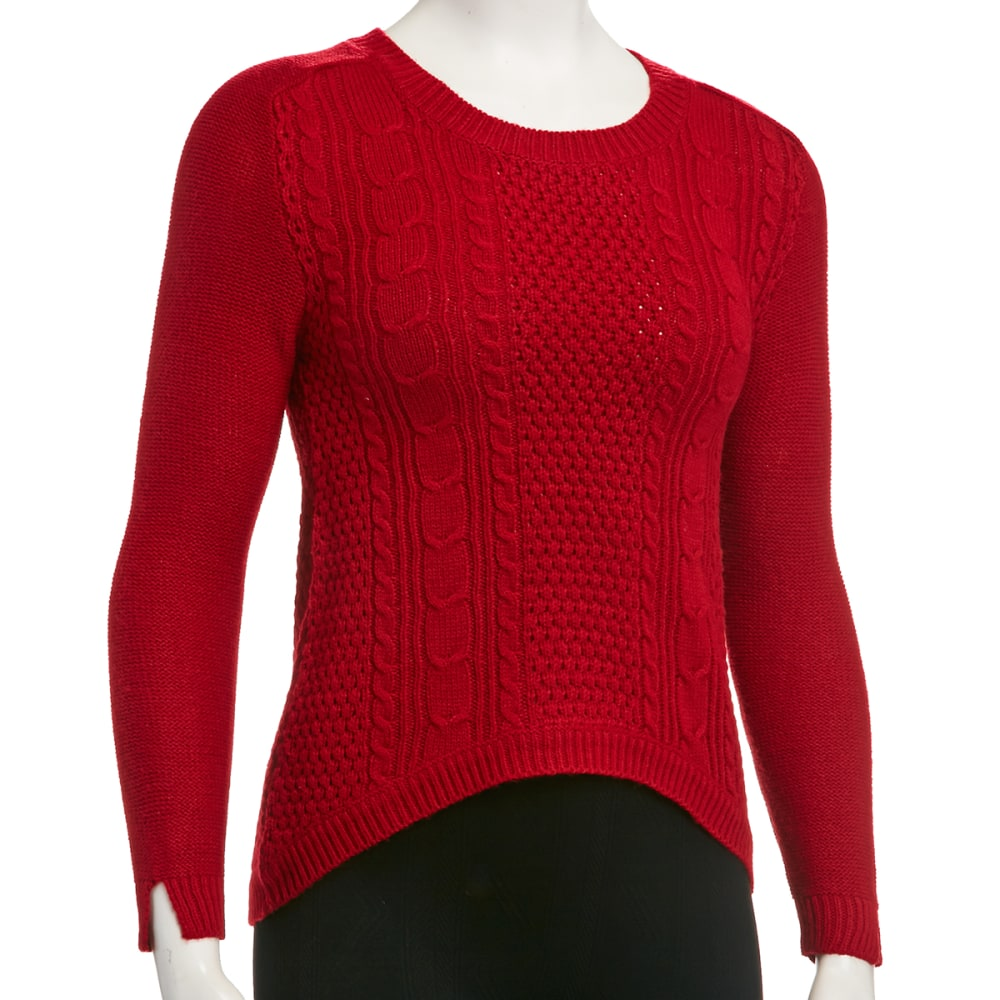 AMBIANCE Juniors' Cable High Lo Sweater - RED