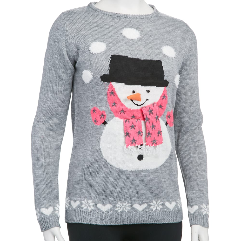 POOF Juniors' 3D Snowman Ugly Holiday Sweater - GREY