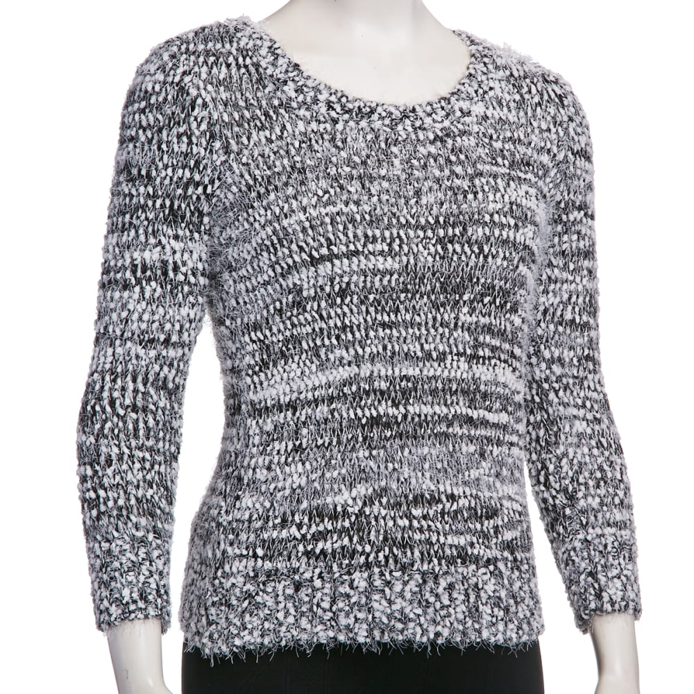 ALMOST FAMOUS Junior's Space Dye Eyelash Sweater - CHARCOAL