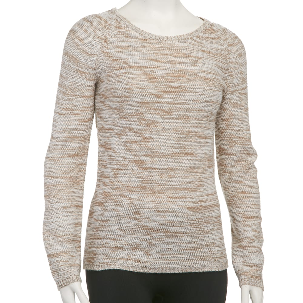 AMBIANCE Juniors' 2 Tone Hi-Low Tunic Sweater - NEUTRAL