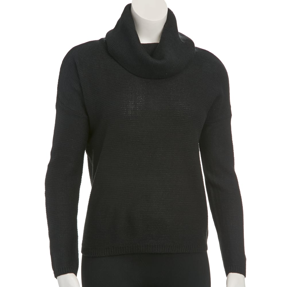 AMBIANCE Juniors' Cowl Neck Drop Shoulder Sweater - BLACK