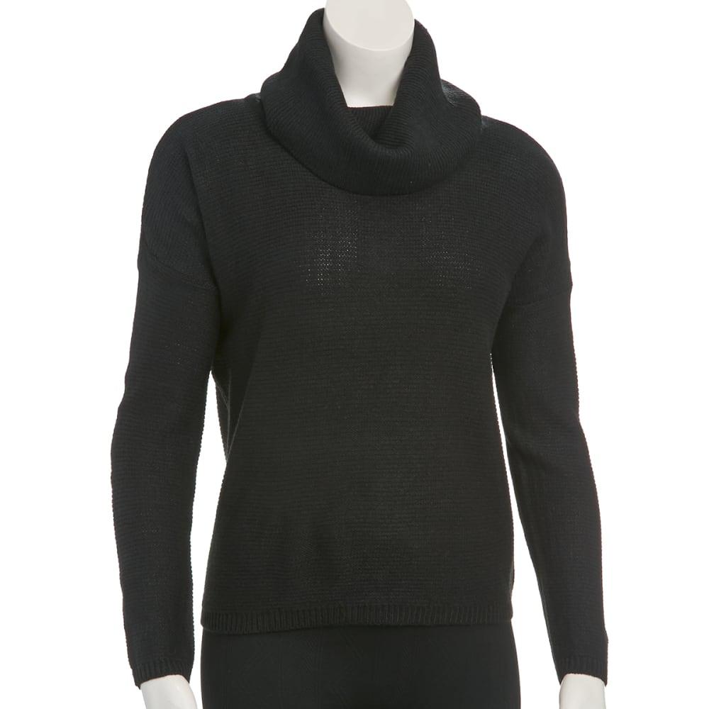 AMBIANCE Juniors' Cowl Neck Drop Shoulder Sweater - BLACK