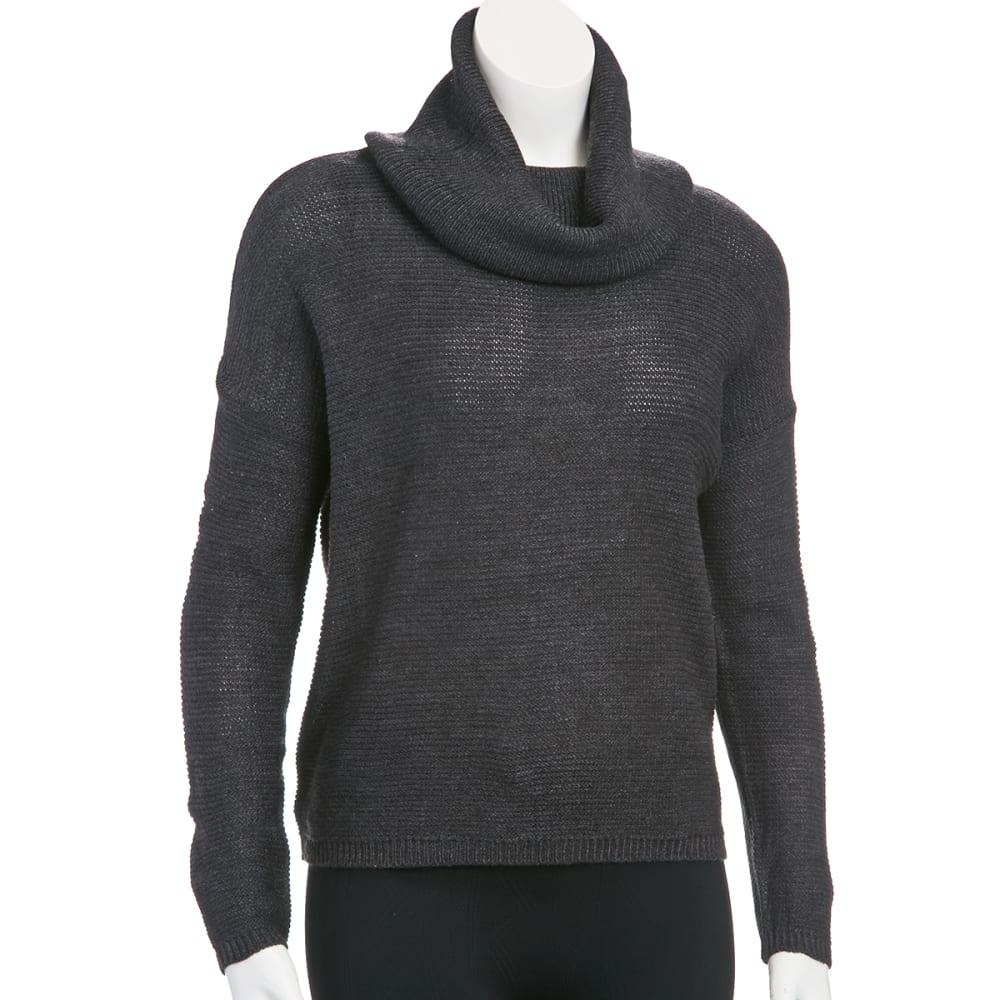 AMBIANCE Juniors' Cowl Neck Drop Shoulder Sweater - CHARCOAL