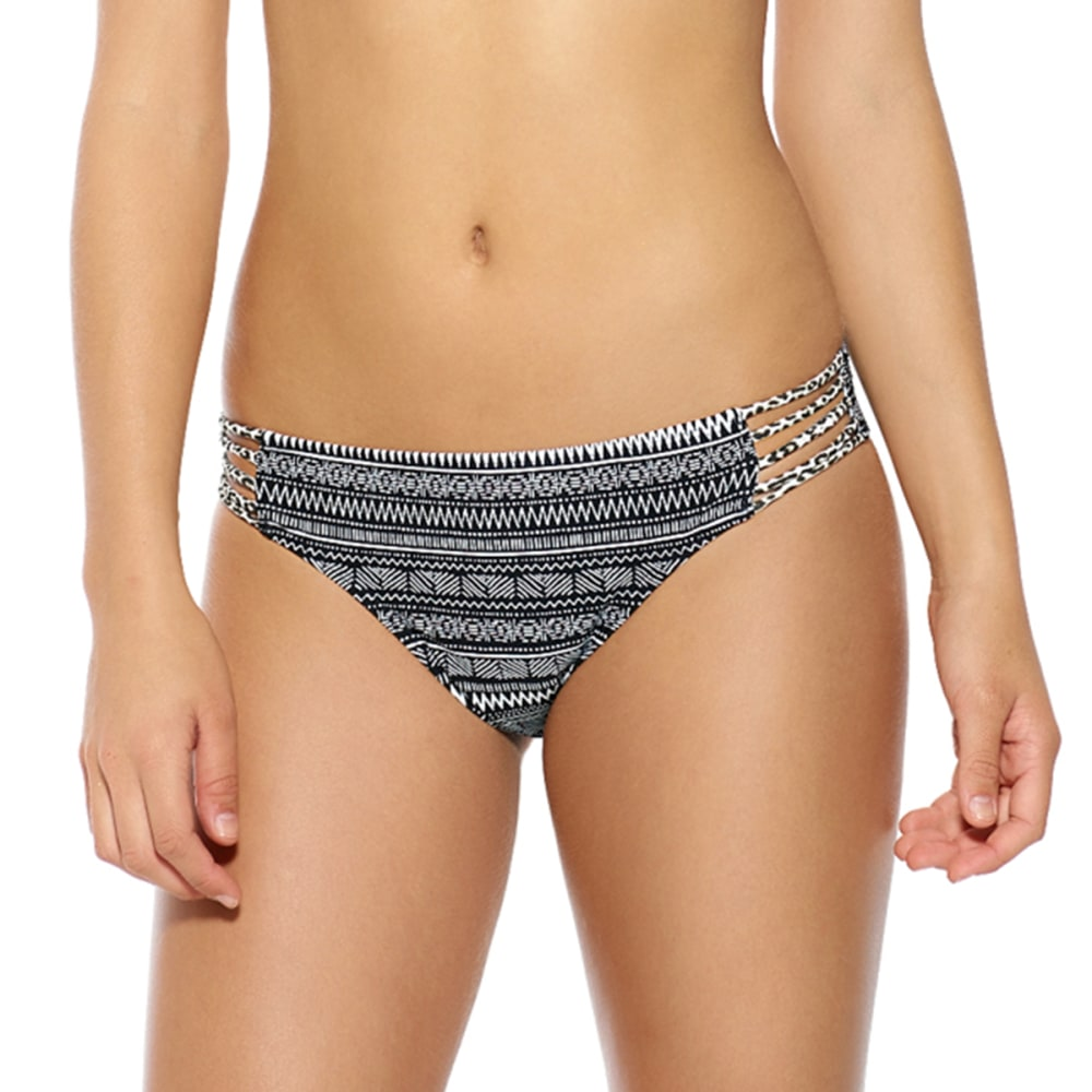 HOT WATER Juniors' Tribal Strappy Bikini Bottoms - BLACK MULTI