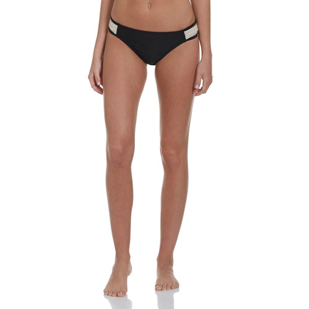 IN MOCEAN Juniors' Cara Crochet Tab Bikini Bottoms - BLACK