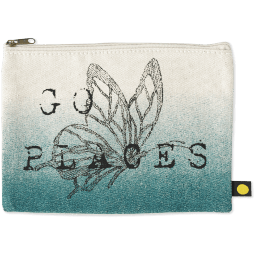 LIFE IS GOOD Engraved Butterfly Go Places Messaging Pouch - CREAM