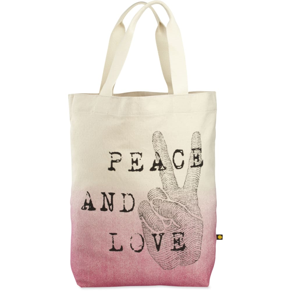 LIFE IS GOOD Engraved Peace Love Messaging Tote - CREAM