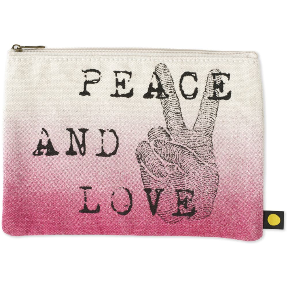 LIFE IS GOOD Engraved Peace Love Messaging Pouch - CREAM