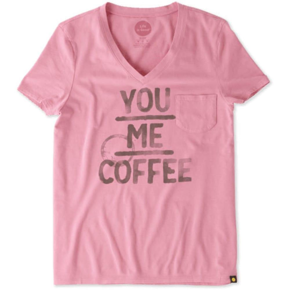 LIFE IS GOOD Women's You Me Coffee Pocket Sleep V-Neck Tee - ROSE PINK