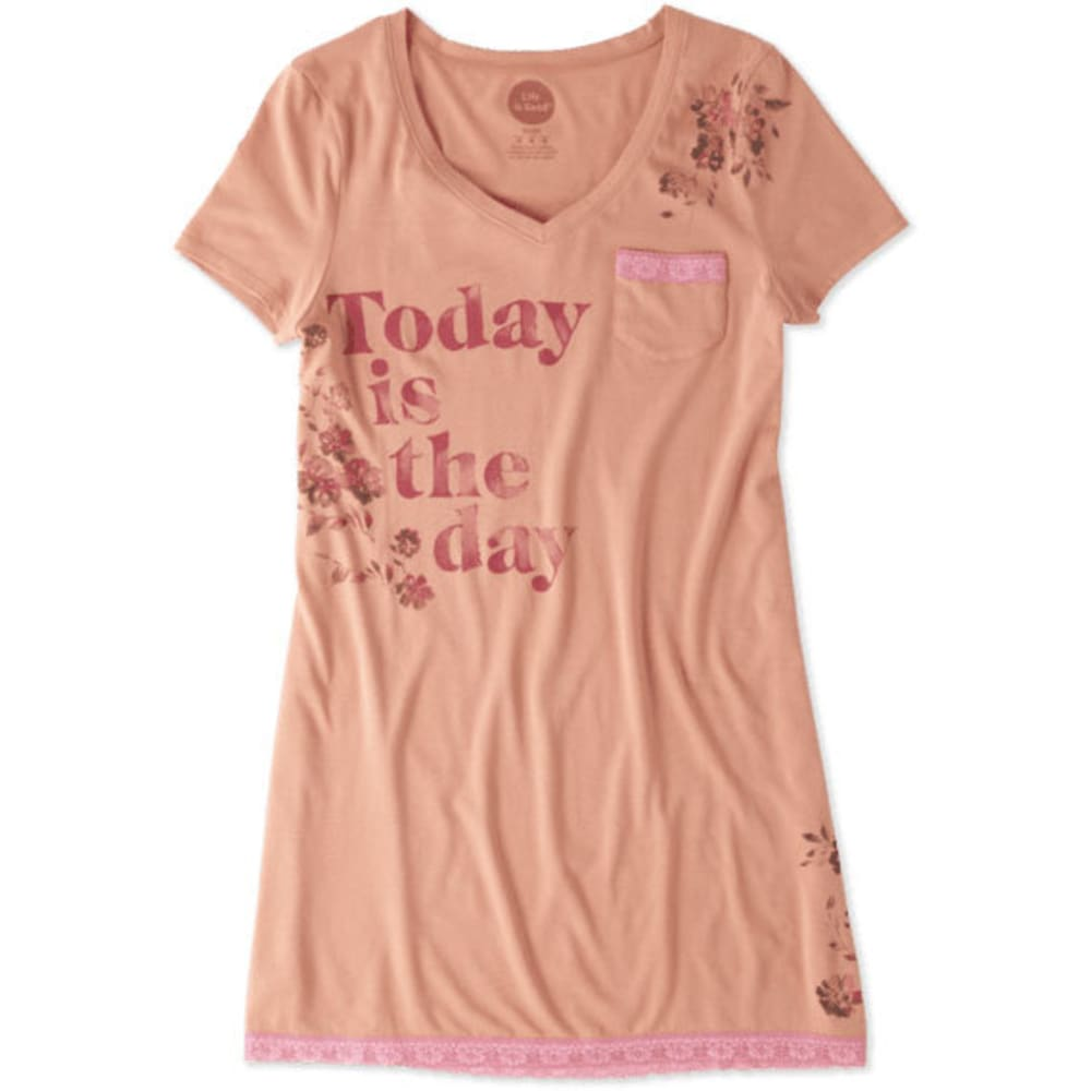 LIFE IS GOOD Women's Today Is the Day Lace Sleep Dress - PEACH