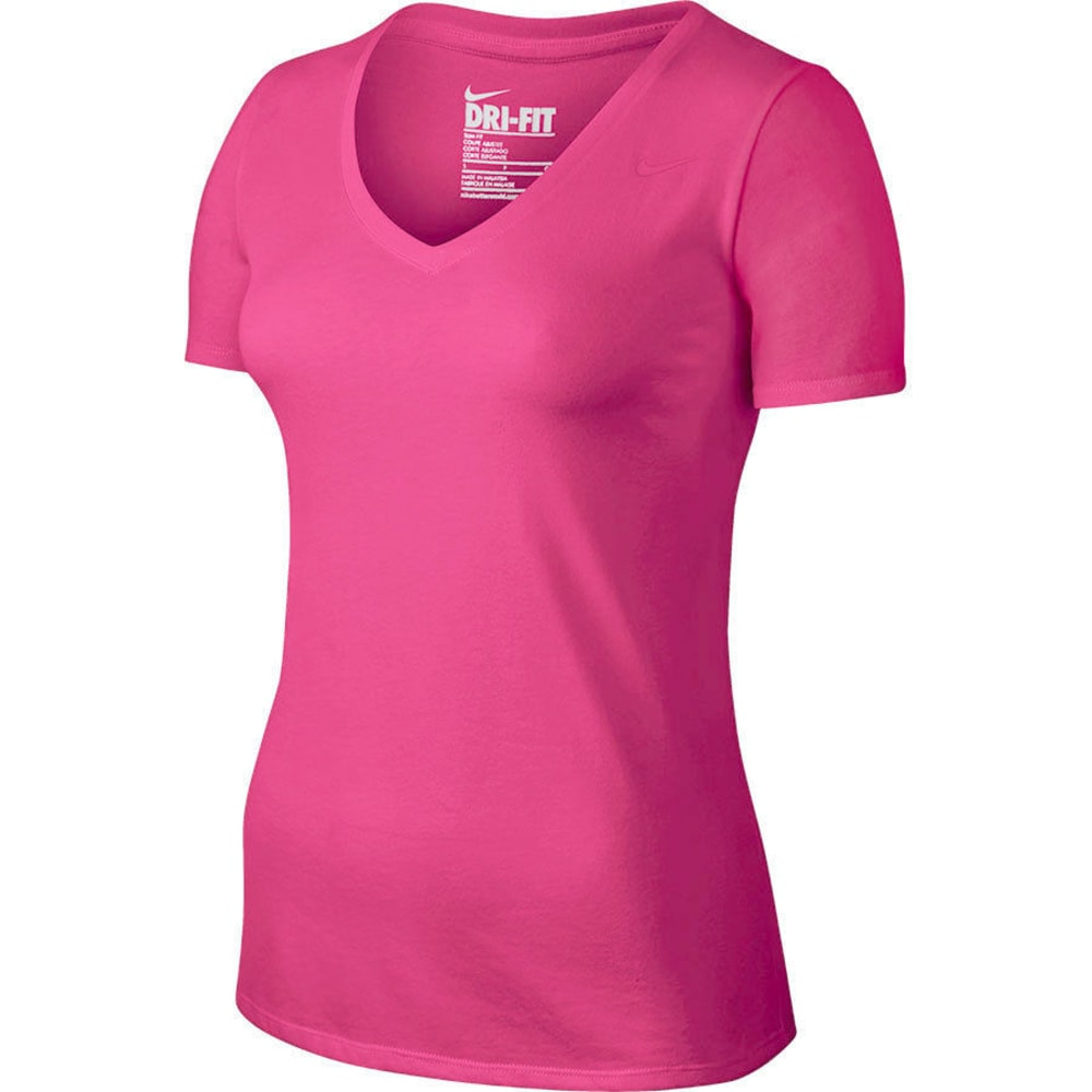 NIKE Women's Dri-FIT Cotton 2.0 V-Neck Short-Sleeve Tee - VIV PINK