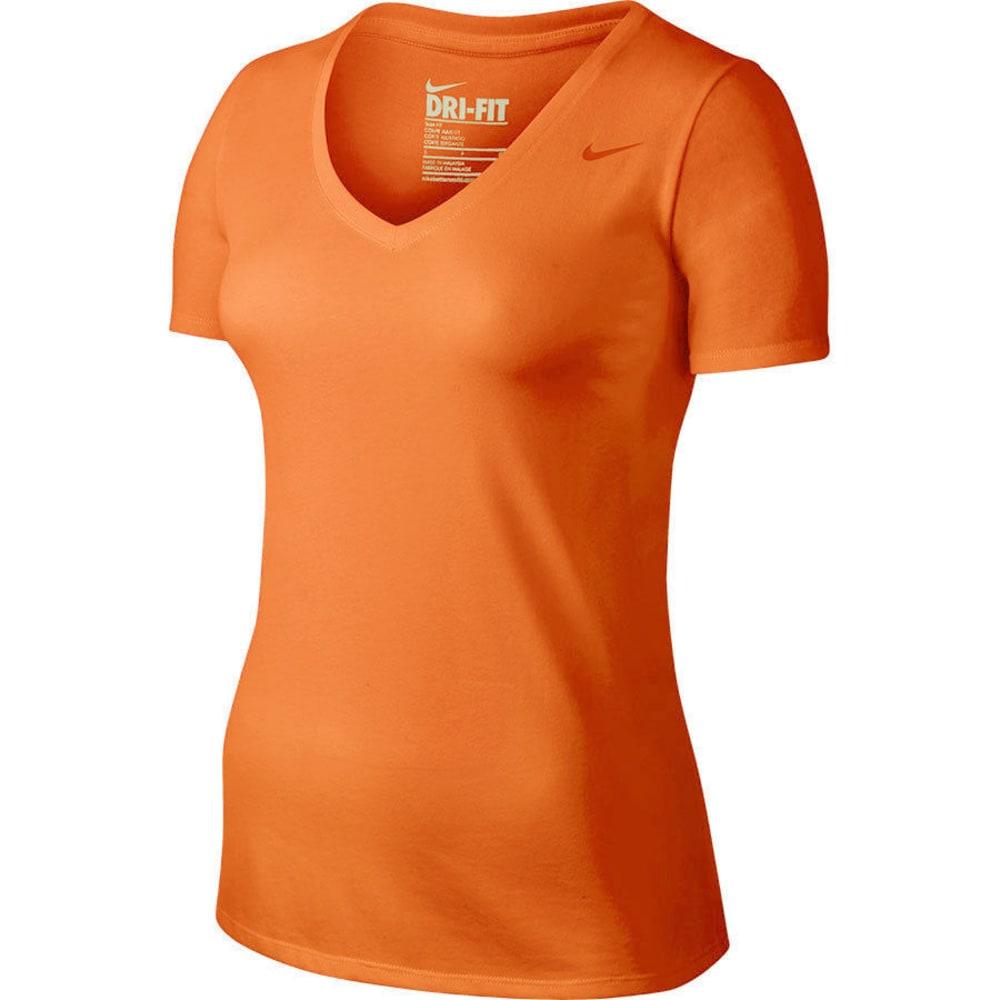 NIKE Women's Dri-FIT Cotton 2.0 V-Neck Short-Sleeve Tee - VIV ORANGE