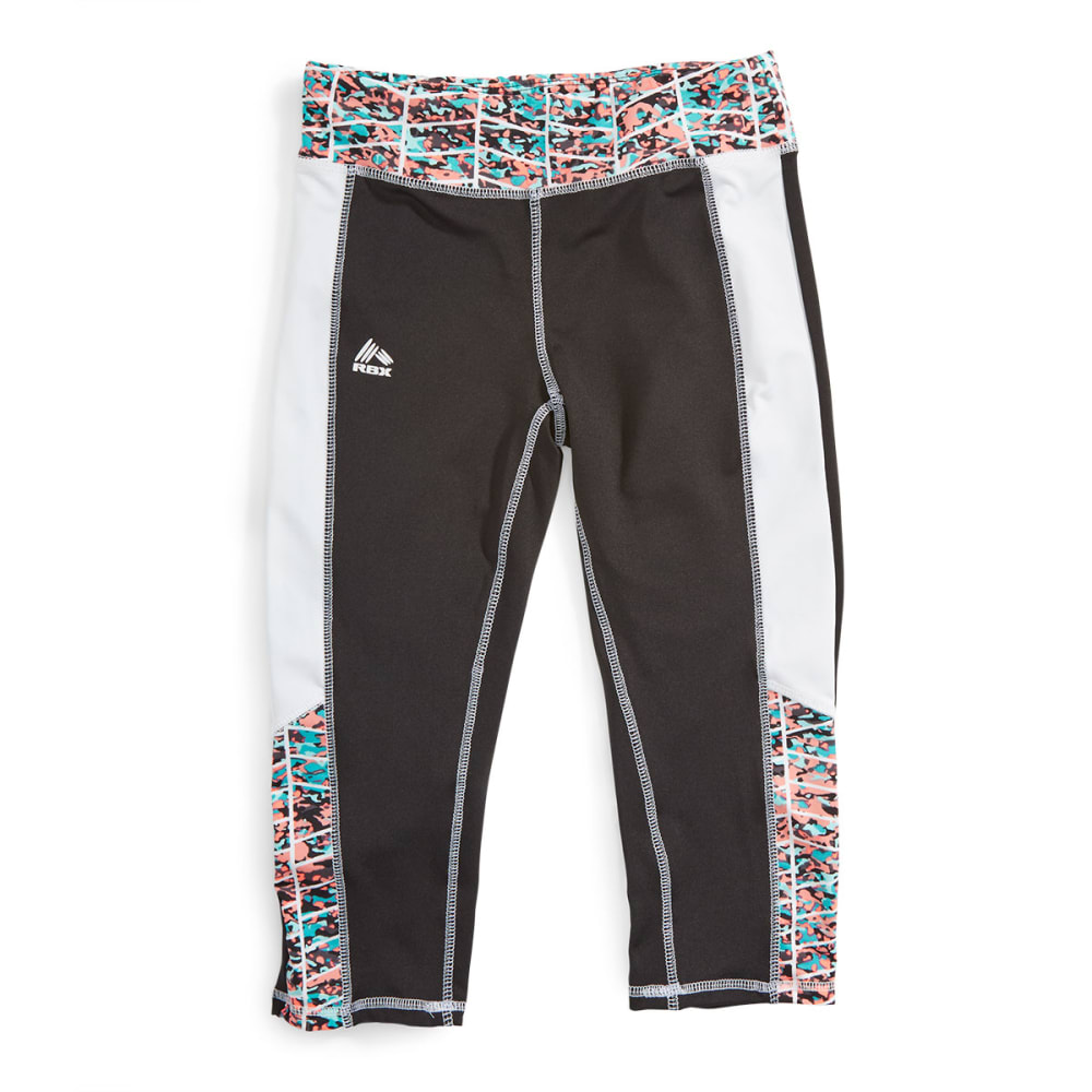 RBX Girl's Color Block Printed Waistband Capris - BLACK
