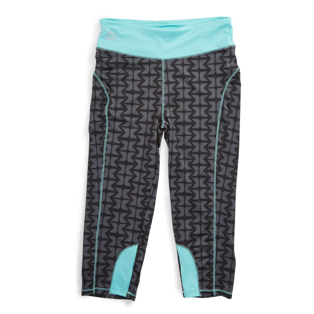 RBX Girl's Solid Waistband All Over Print Capris - SEAFOAM