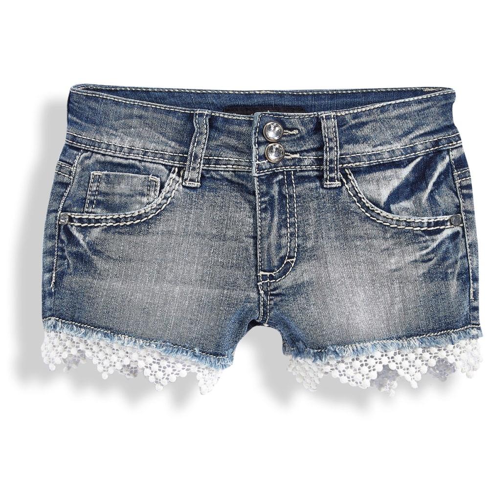 VANILLA STAR Girls' Crochet Hem Shorts - DECAY WASH