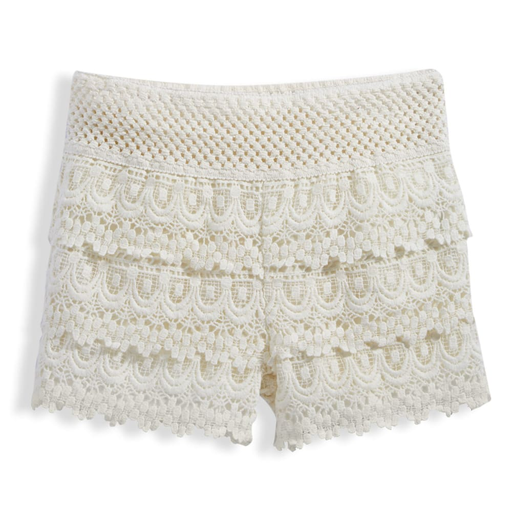 VANILLA STAR Girls' Tiered Crochet Shorts - NATURAL