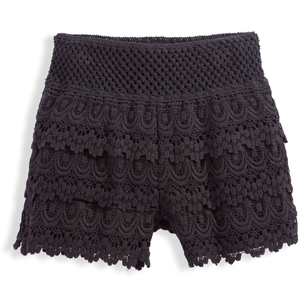 VANILLA STAR Girls' Tiered Crochet Shorts - BLACK