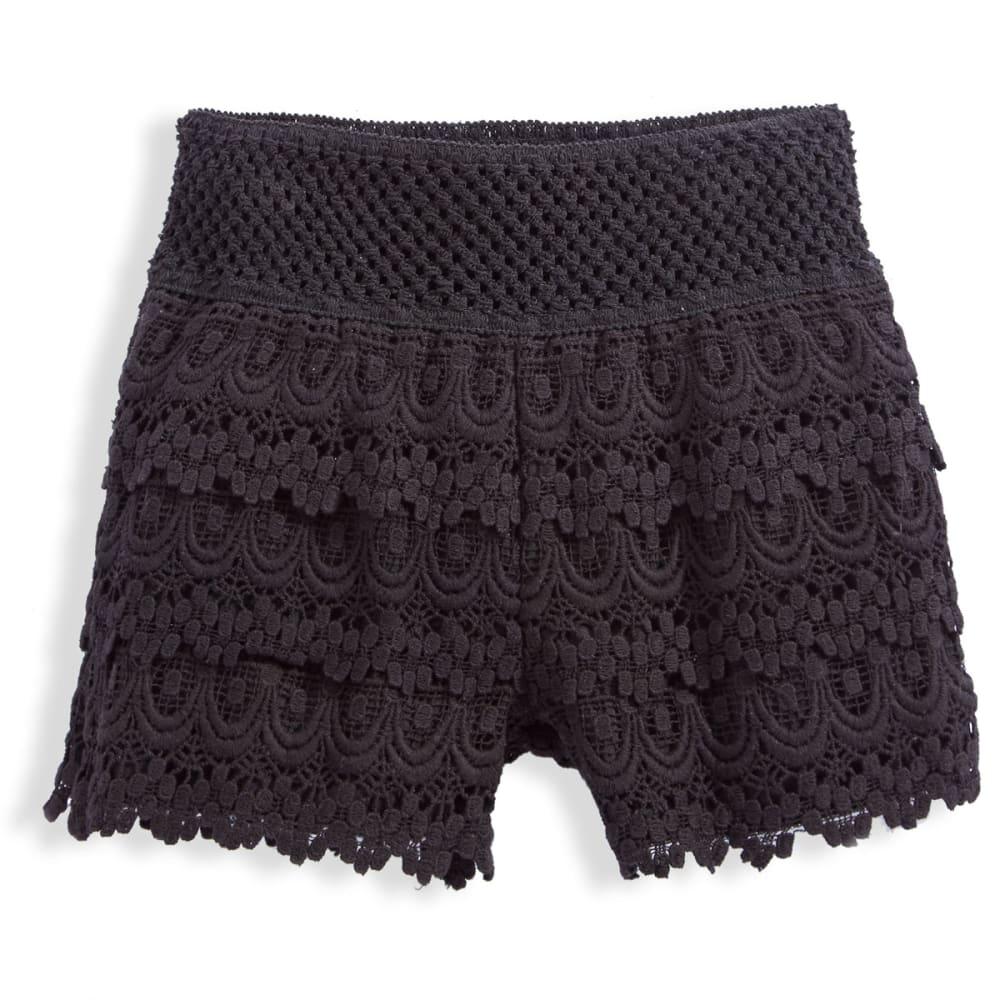 VANILLA STAR Girls' Tiered Crochet Shorts - BLACK