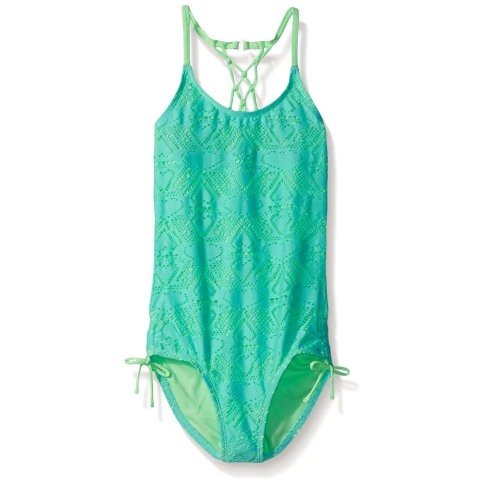 ANGEL BEACH Girls' Heart Crochet One Piece Swimsuit - AQUA
