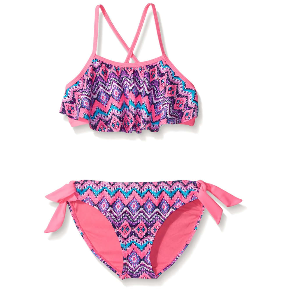 ANGEL BEACH Girls' Mystique Tribal Flounce Bikini - PINK
