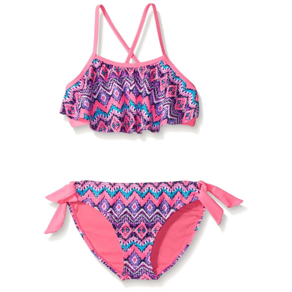 ANGEL BEACH Girls' Mystique Tribal Flounce Bikini - PINK
