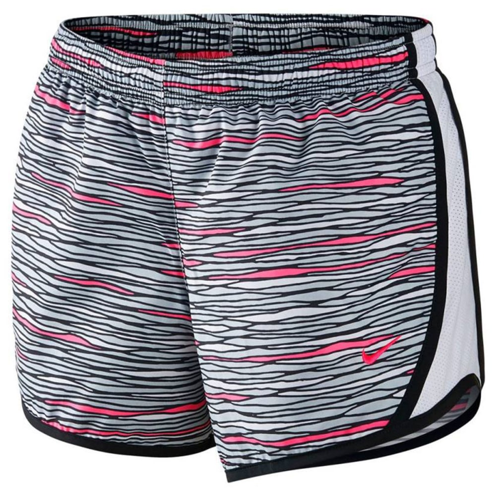 NIKE Big Girls' Dry Tempo Printed Running Shorts - STEALTH GREY