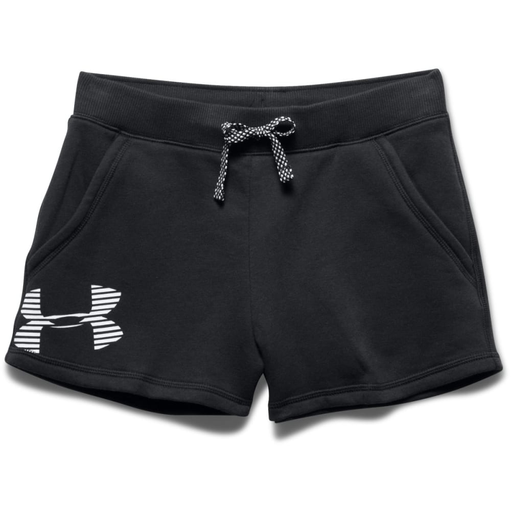 UNDER ARMOUR Girls' Favorite Fleece Shorts - BLACK/WHITE-001