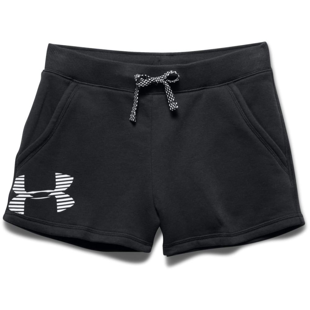 UNDER ARMOUR Girls' Favorite Fleece Shorts - BLACK/WHITE-001