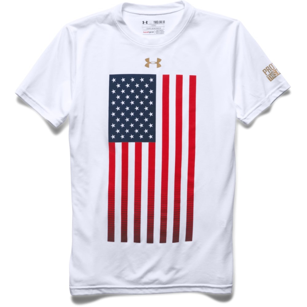 UNDER ARMOUR Boys' USA Flag Tee - WHITE-100