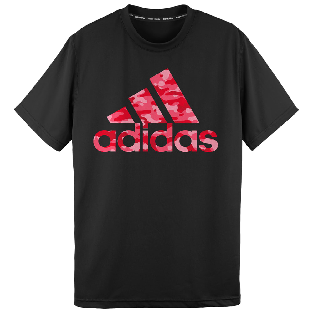 ADIDAS Boys' Climalite Camo Logo Short-Sleeve Tee - BLACK/HEATHER RED