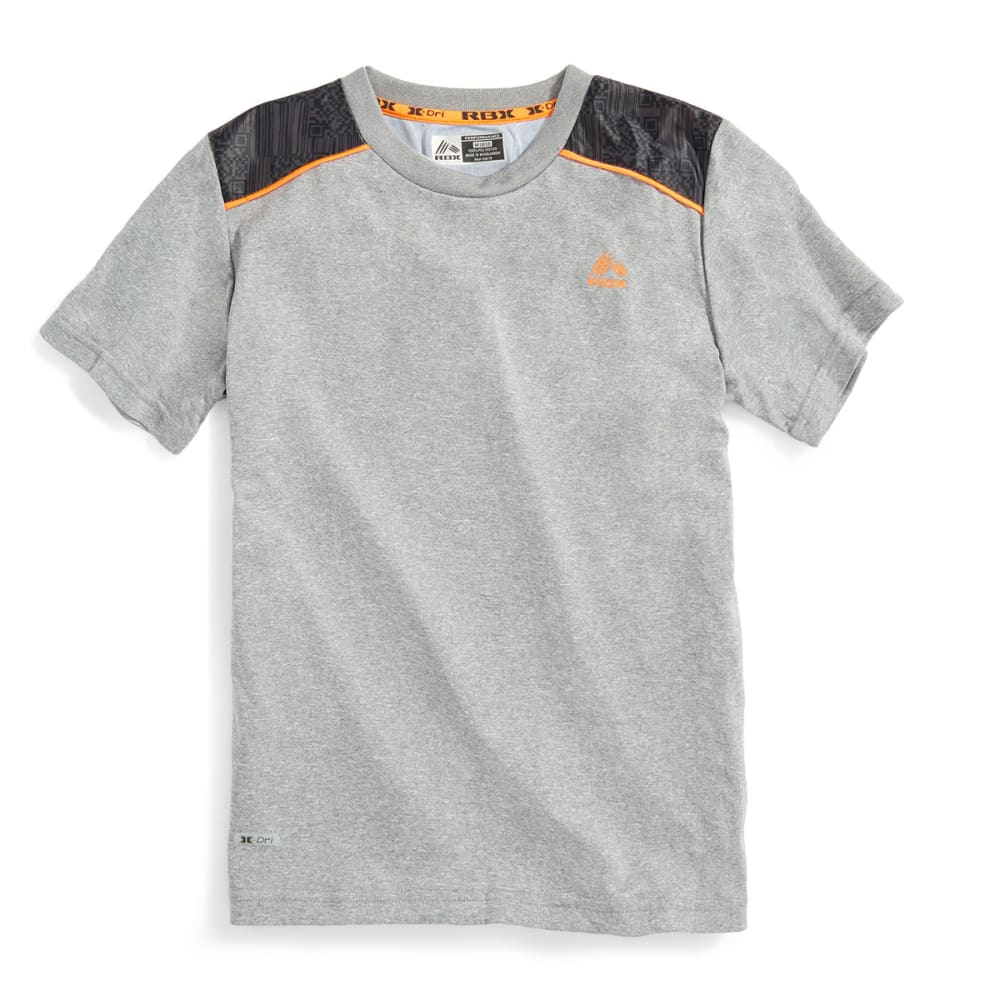 RBX Boys' Color Block Printed Yoke Tee - GREY HEATHER/CHARCOA