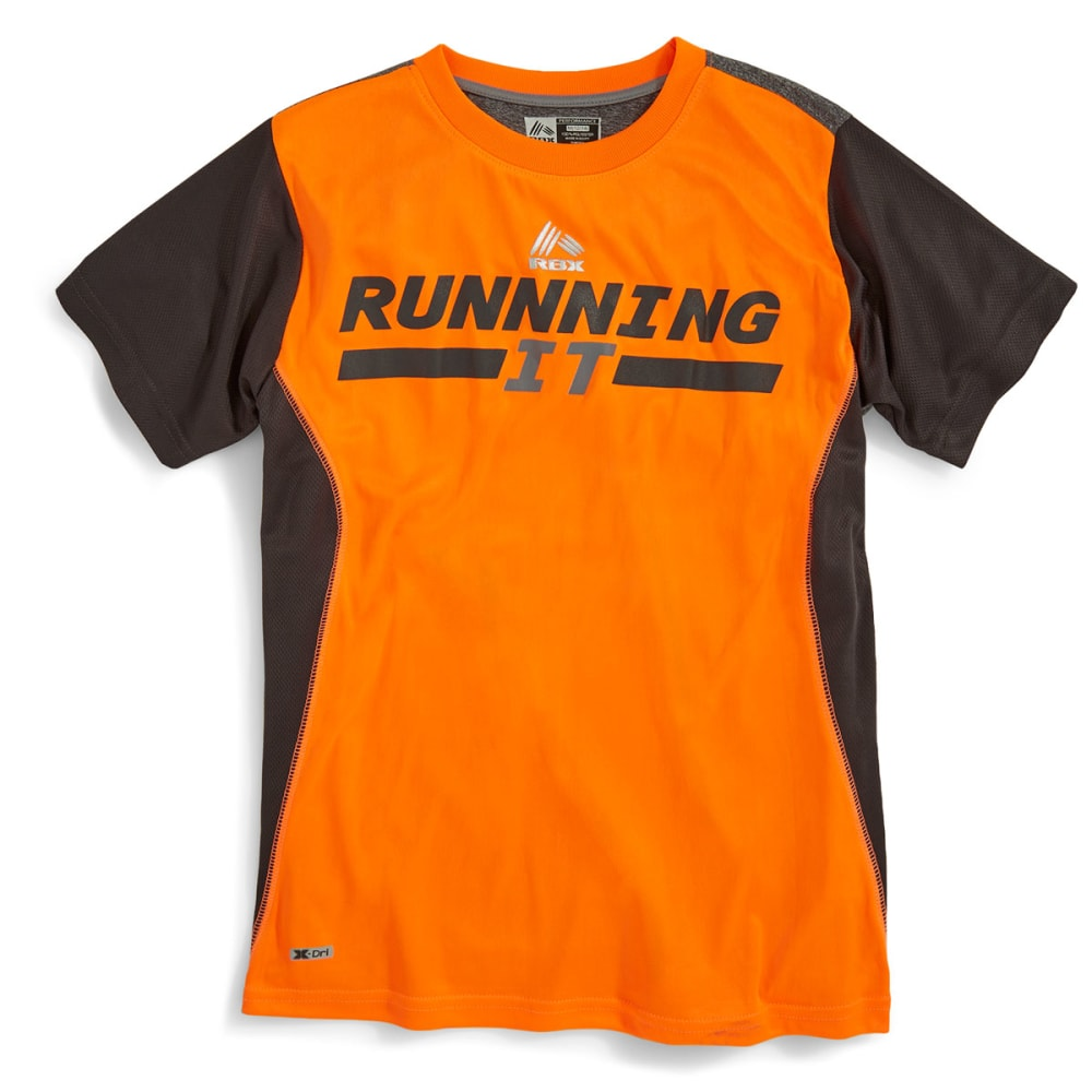 RBX Boys' Running It Color-Block Poly Tee - NEON ORANGE