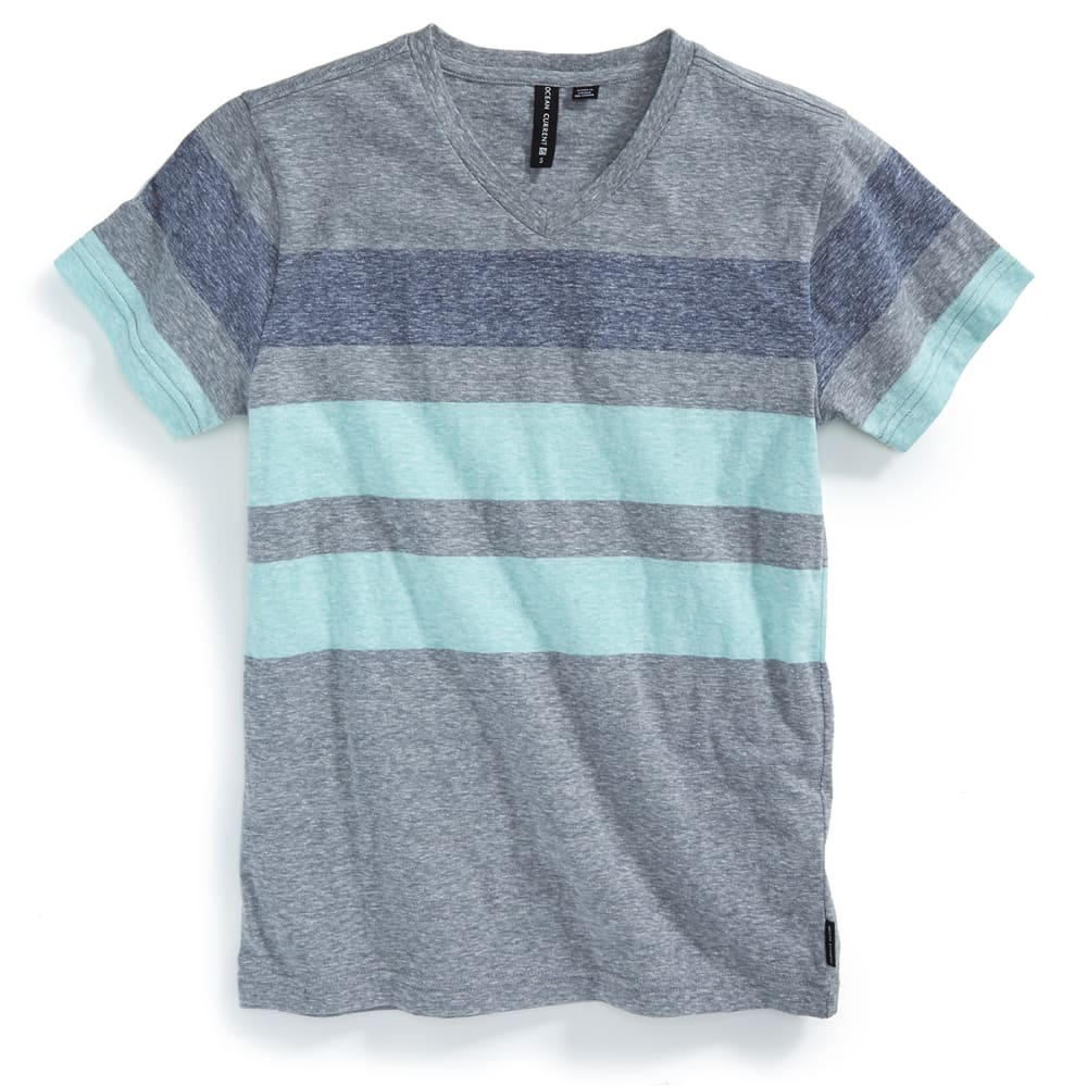 OCEAN CURRENT Boys' Adams Stripe V-Neck Tee - FADED MINT