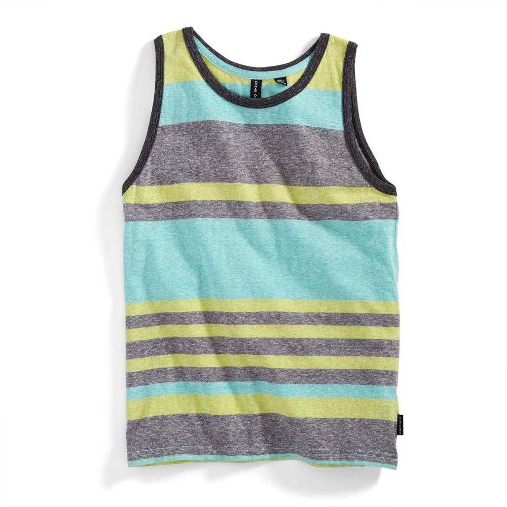OCEAN CURRENT Boys' Navigate Snow Heather Striped Tank - LIME