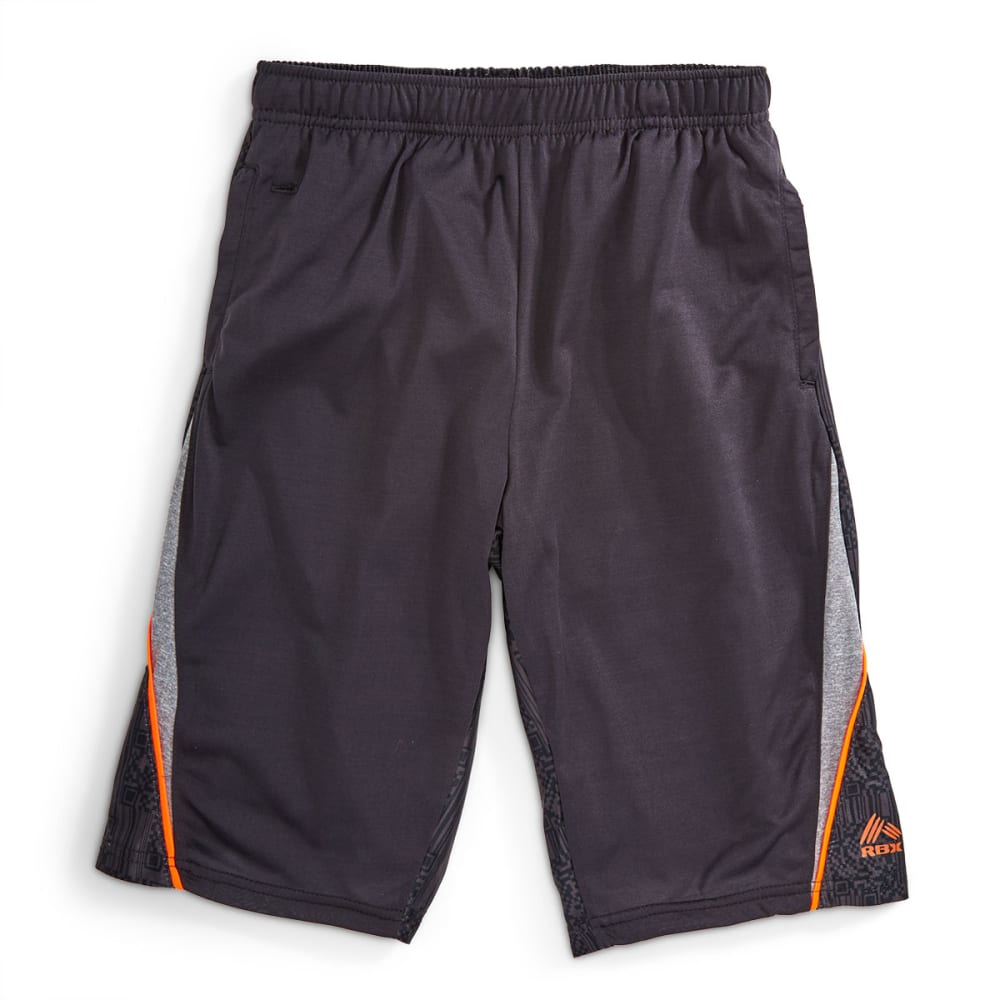 RBX Boys' Jersey Printed Dazzle Back Basketball Shorts - CHARCOAL