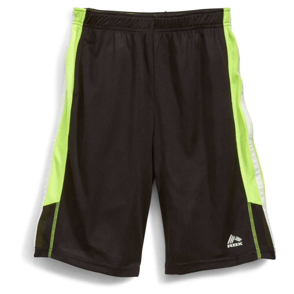 RBX Boys' Jersey Mesh Panel Basketball Shorts - BLACK
